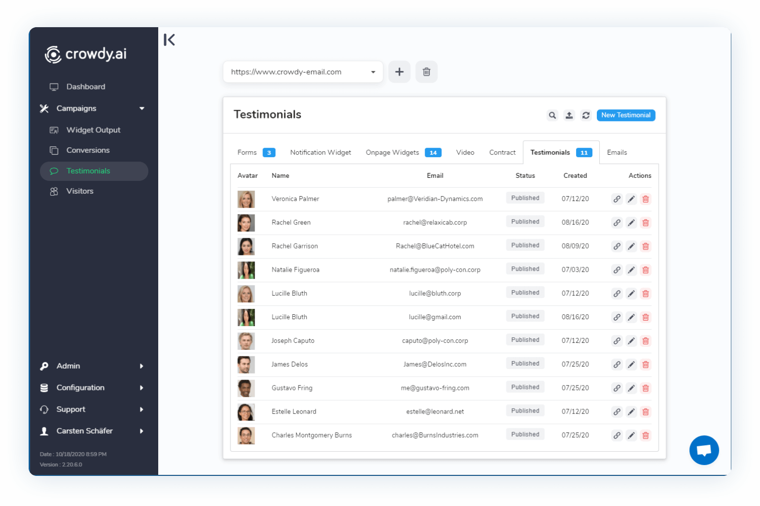 Manage testimonials in crowdy's dashboard